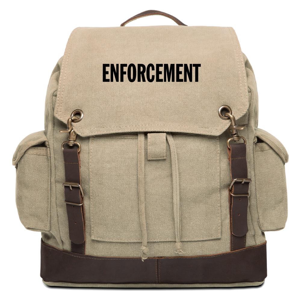 enforcement text vintage canvas rucksack backpack w. Black Bedroom Furniture Sets. Home Design Ideas