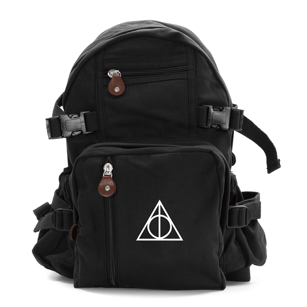 harry potter deathly hallows symbol military backpack. Black Bedroom Furniture Sets. Home Design Ideas