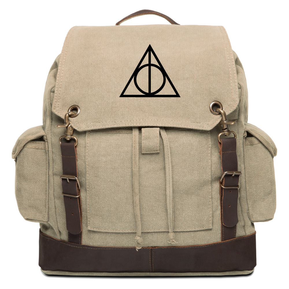 deathly hallows harry potter vintage canvas rucksack. Black Bedroom Furniture Sets. Home Design Ideas