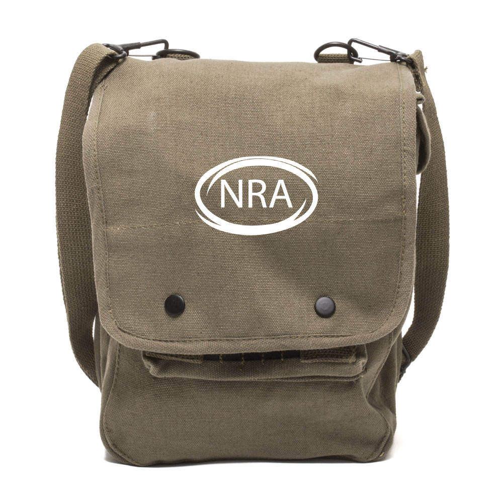 nra national rifle association canvas crossbody travel map