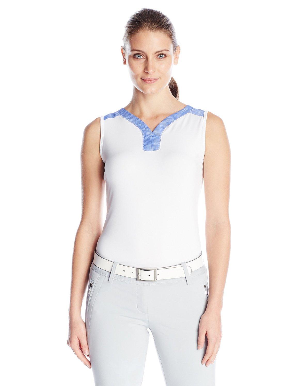 New 2016 adidas golf women 39 s mesh printed sleeveless polo for Plus size sleeveless golf shirts