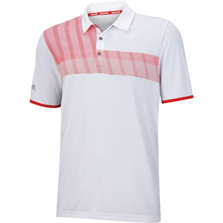 New Adidas Golf Climachill S S Chest Stripe Polo Shirt