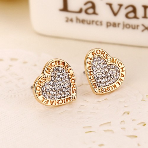 Exquisite letter heart shape lady fashion crystal High Quality Ear Studs earring