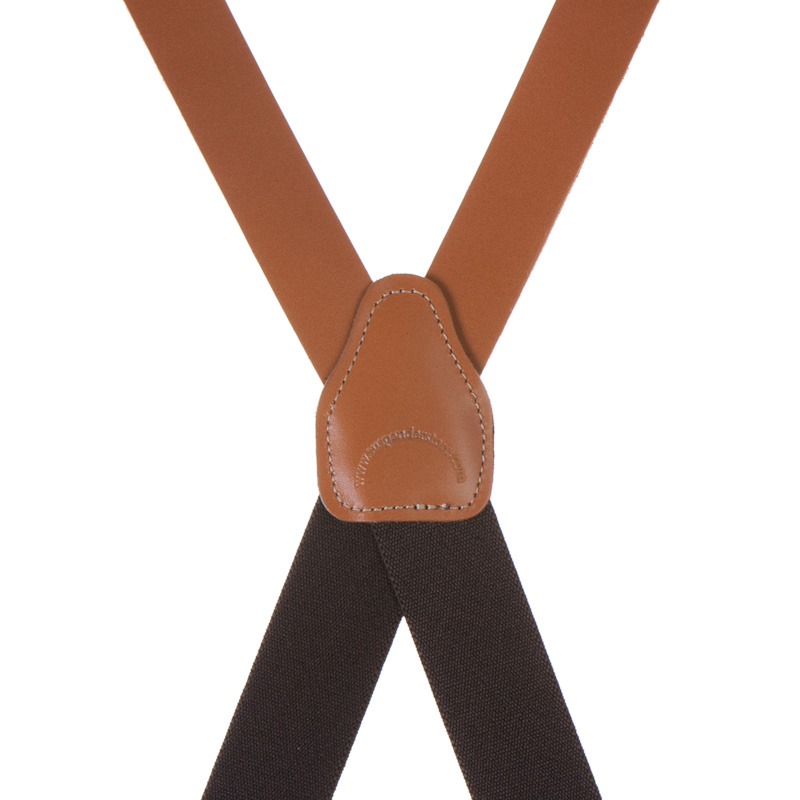Clip 1-Inch Wide All Leather Suspenders
