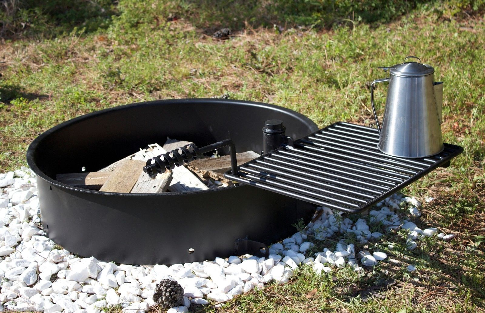 24 Steel Fire Ring With Cooking Grate Campfire Pit Park