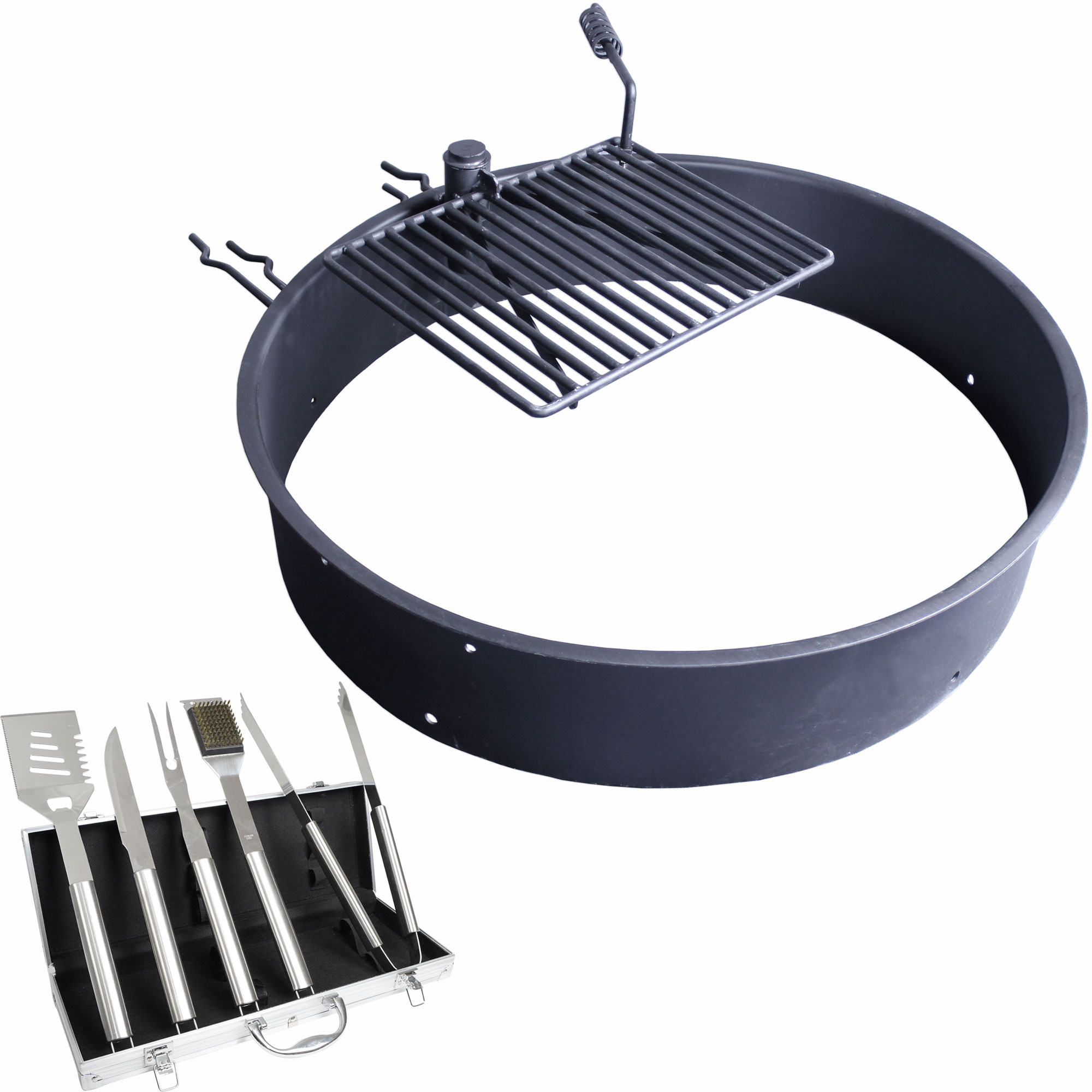 Fire ring with cooking grate campfire pit park grill bbq camping trail