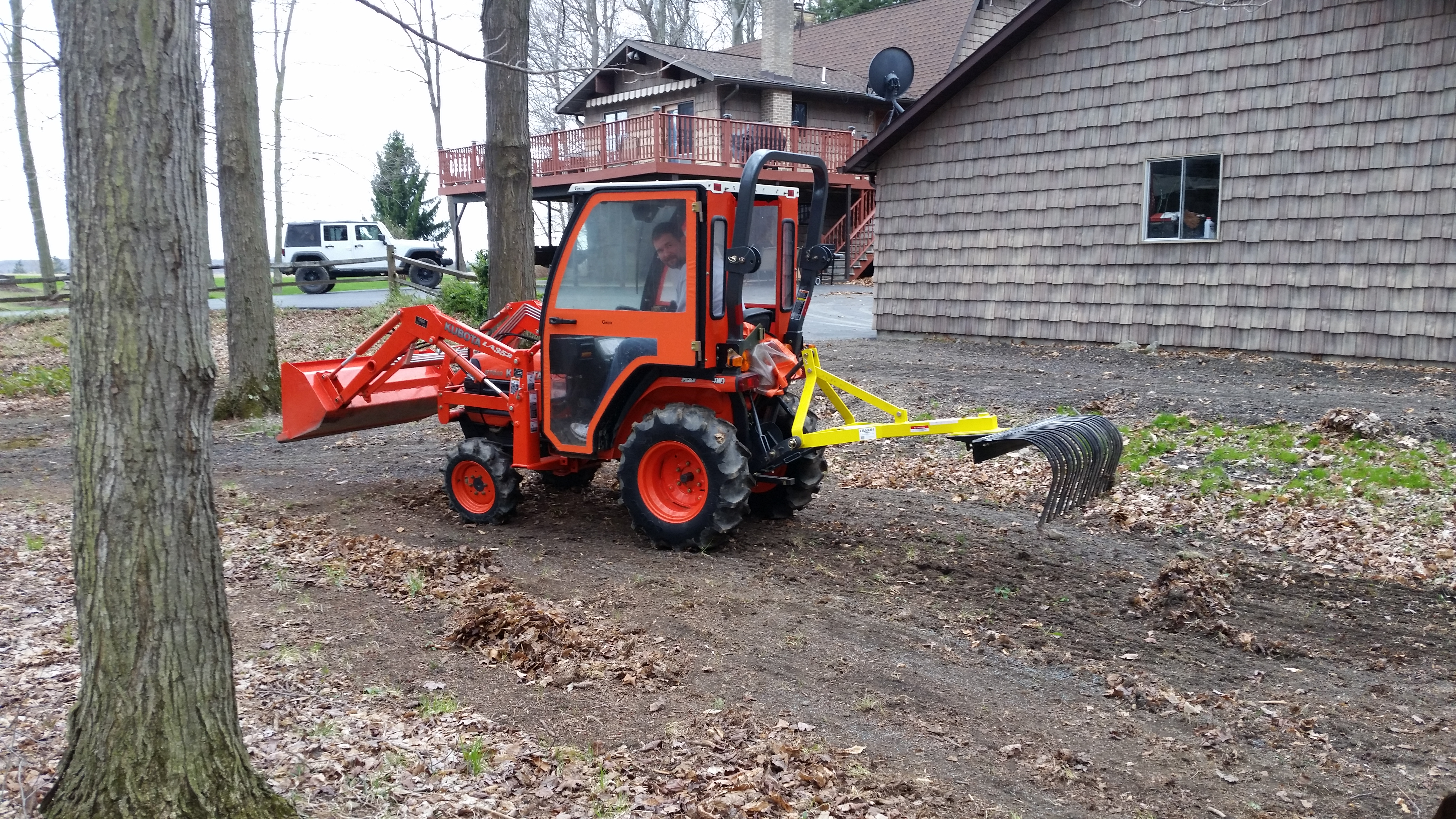 Two Point Tractor : Landscape york rock rake point soil gravel lawn tow