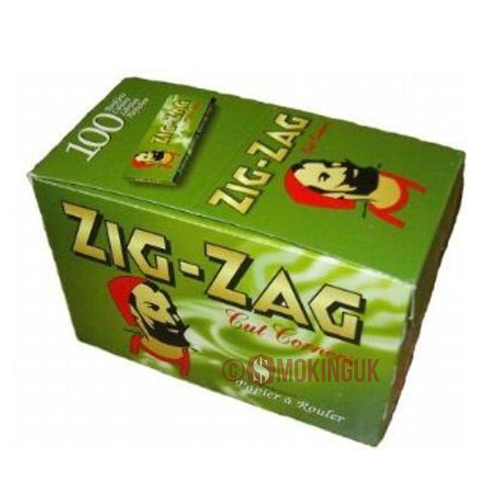 100 zig zag green 70mm single wide rolling papers full box ebay. Black Bedroom Furniture Sets. Home Design Ideas