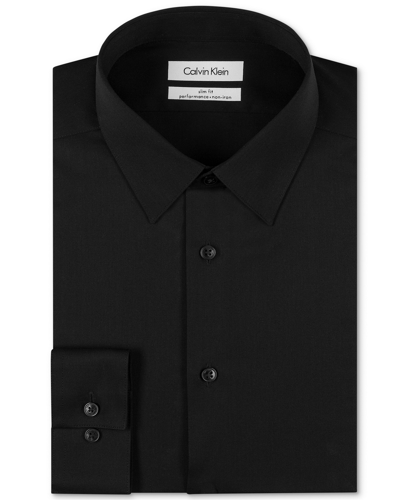 Calvin klein steel slim fit non iron solid dress shirt ebay for Slim fit non iron shirts