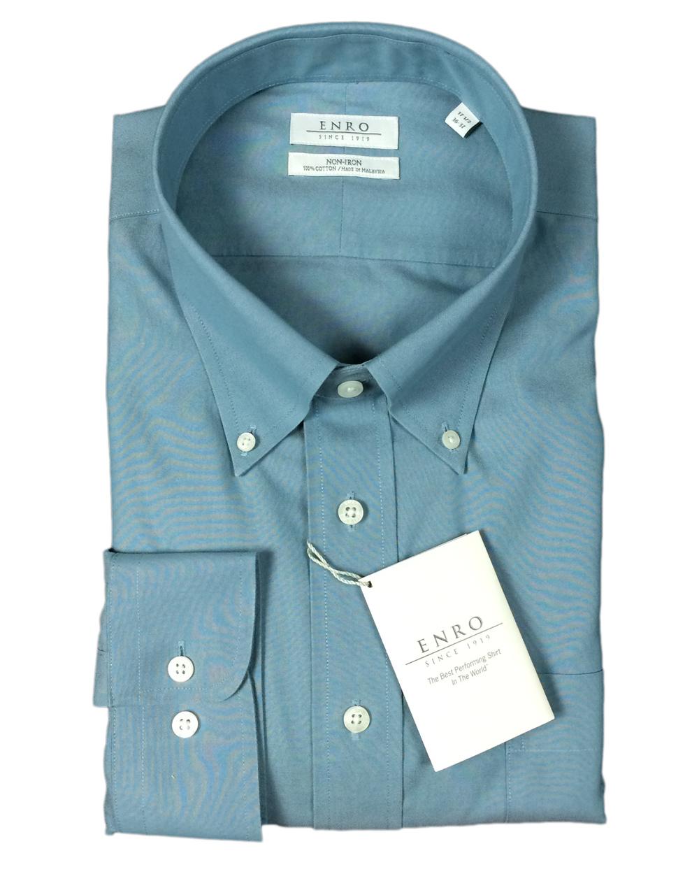 Enro men 39 s 100 cotton non iron button down dress shirt ebay for No iron cotton shirts