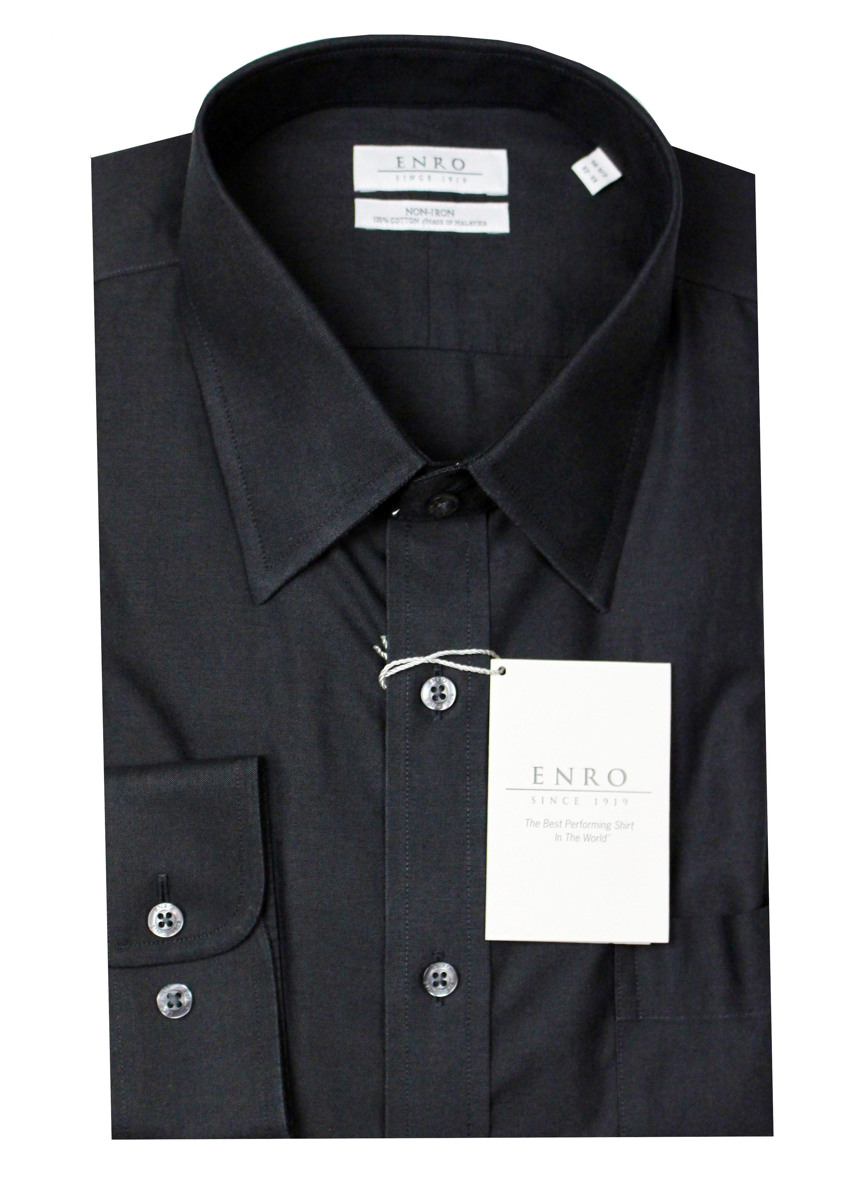 Enro men 39 s 100 cotton non iron point collar dress shirt for Men s no iron dress shirts