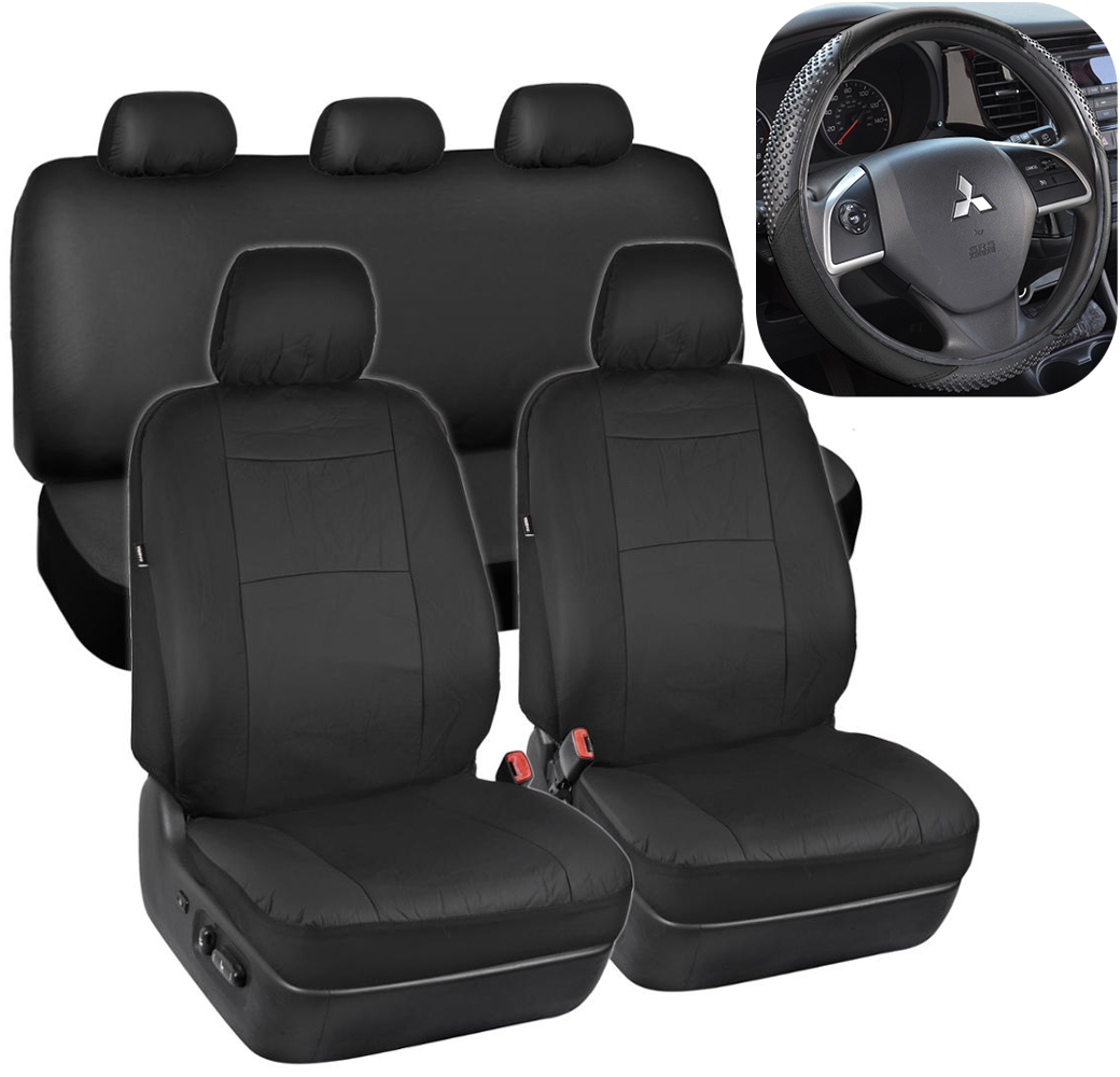 Black Synthetic Leather Seat Covers For Car SUV Auto W
