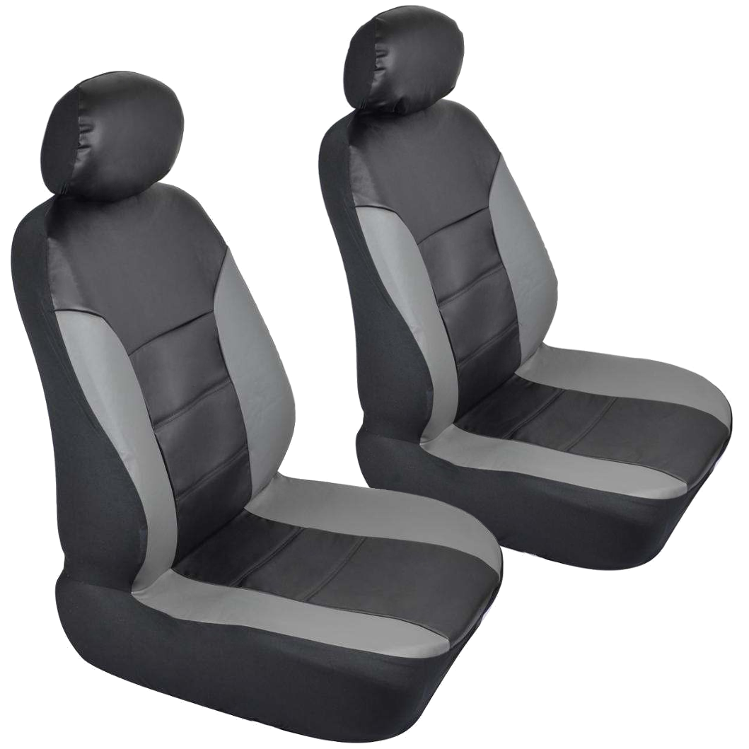 Black Amp Gray PU Leather Car Seat Covers