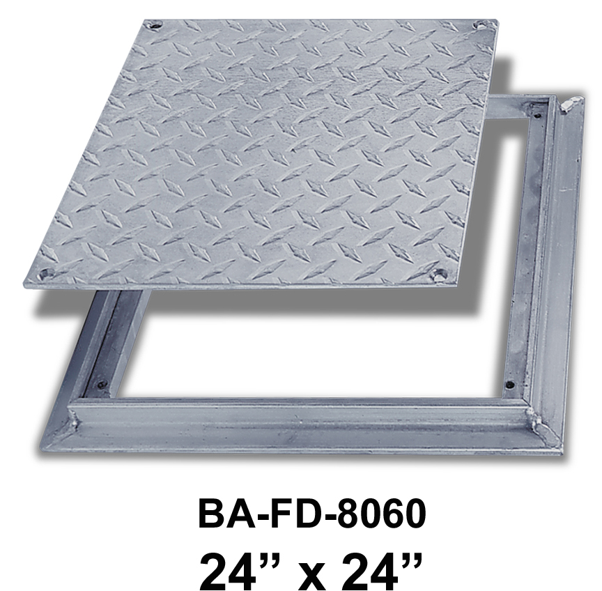 24″ x 24″ Removeable Flush Floor Door –  Diamond Plate – BEST