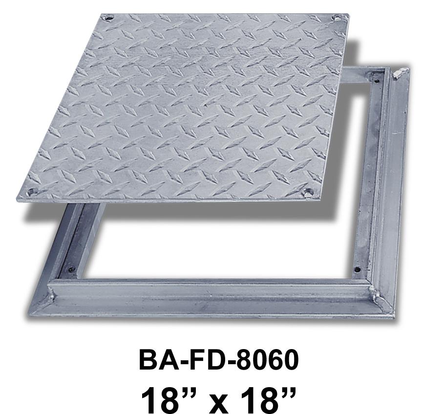 18″ x 18″ Removeable Flush Floor Door –  Diamond Plate – BEST