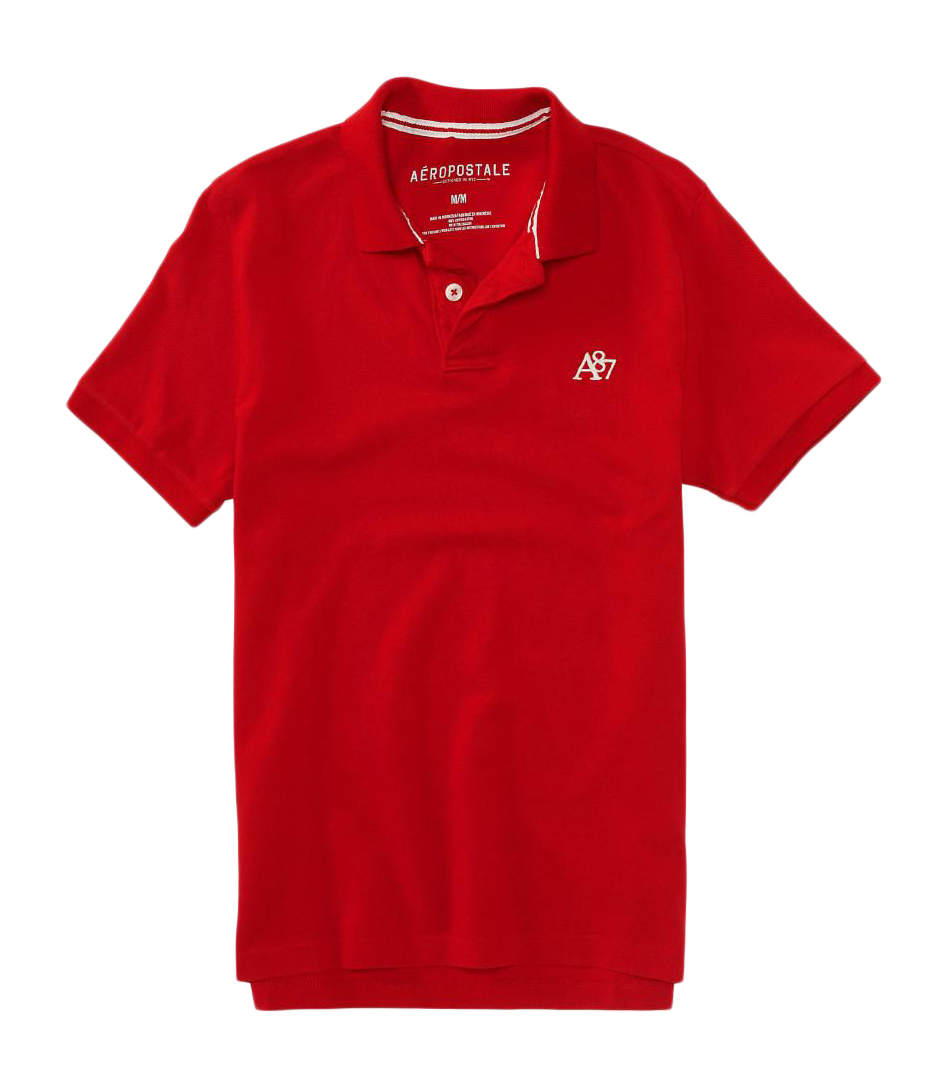 Aeropostale mens solid polo shirt top t shirt nwt a87 logo for Polo shirts with logos