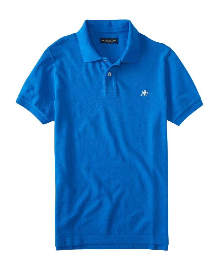 Aeropostale mens solid polo shirt top t shirt nwt a87 logo for Uniform shirts for men