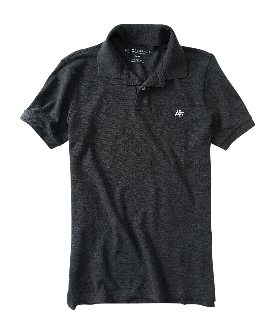 Aeropostale mens solid polo shirt top t shirt nwt a87 logo for Polo shirts for school