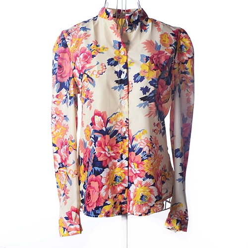 Womens Ladies Casule Long Sleeve Colours Big Flower Printed Blouse Shirts Tops