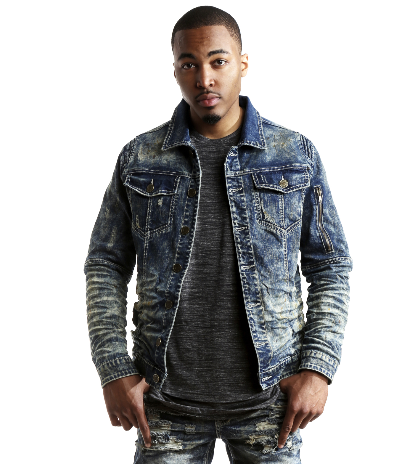 Smoke Rise Men's Slim Fit Moto Biker Denim Jacket