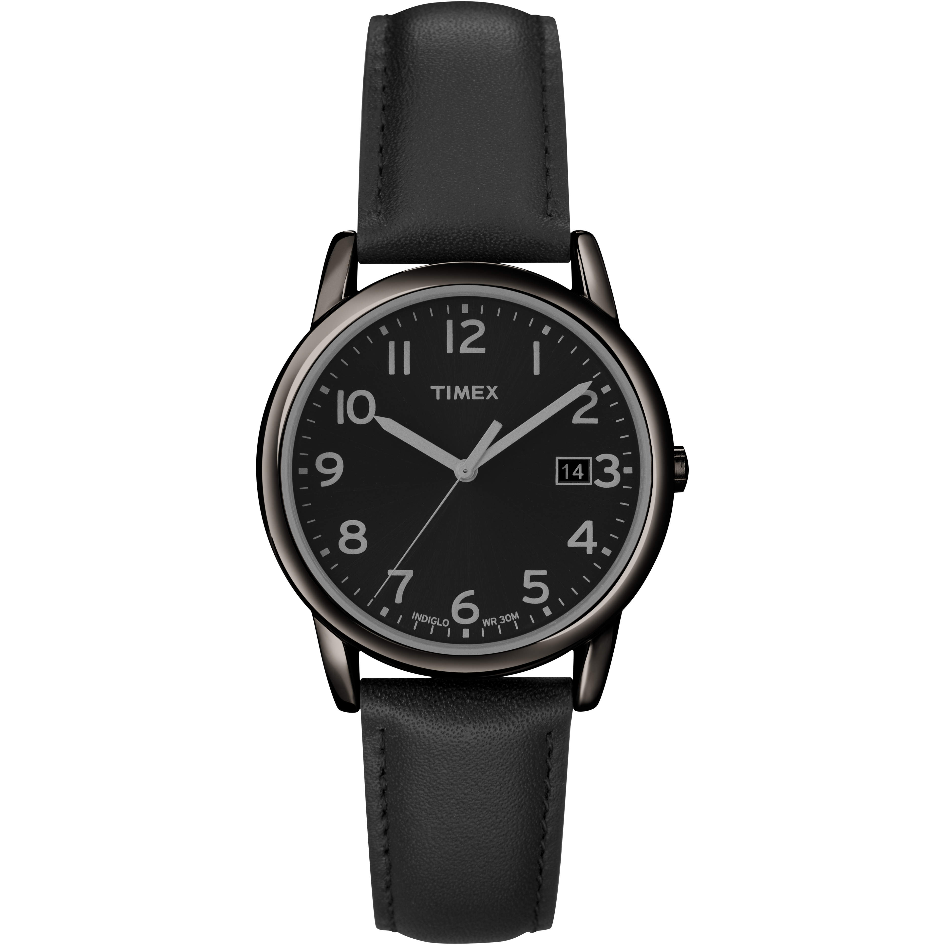Timex Men's South Street | Leather Band White Dial Indiglo Casual Dress Watch Timex