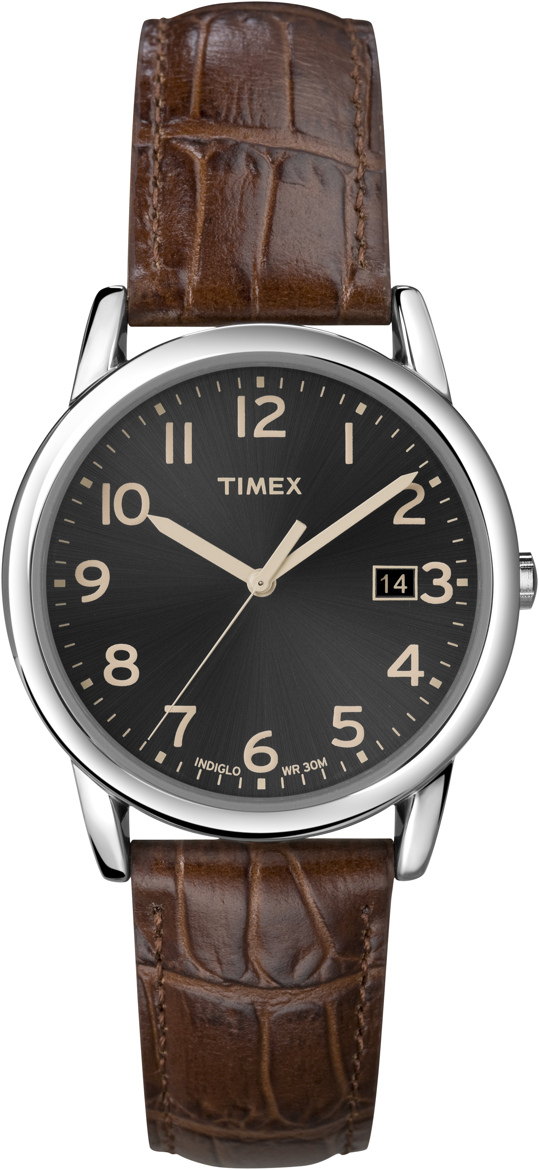 Timex men 39 s south street leather band white dial indiglo casual dress watch for Indiglo watches