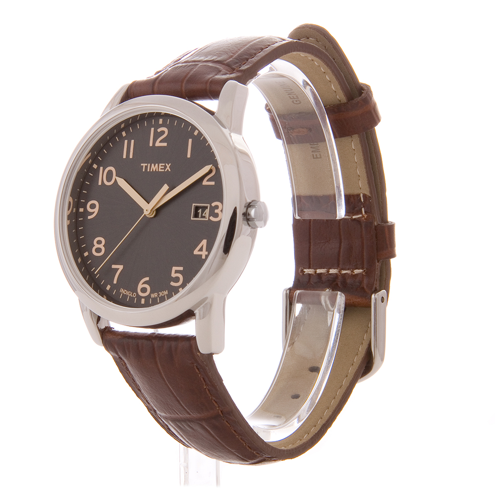 Timex men 39 s south street leather band black dial indiglo casual dress watch ebay for Indiglo watches