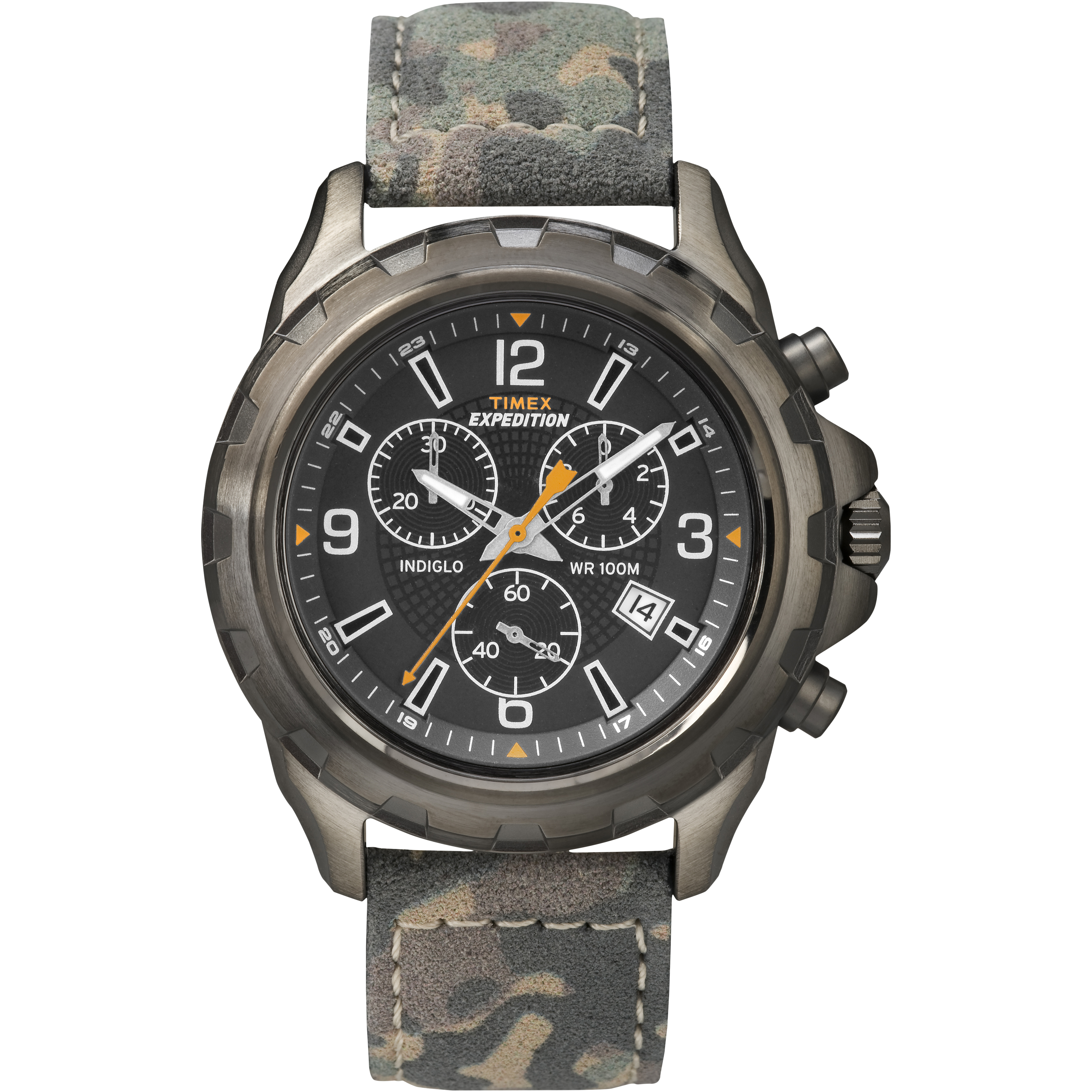 Timex men 39 s expedition rugged chronograph indiglo leather strap outdoor watch for Indiglo watches