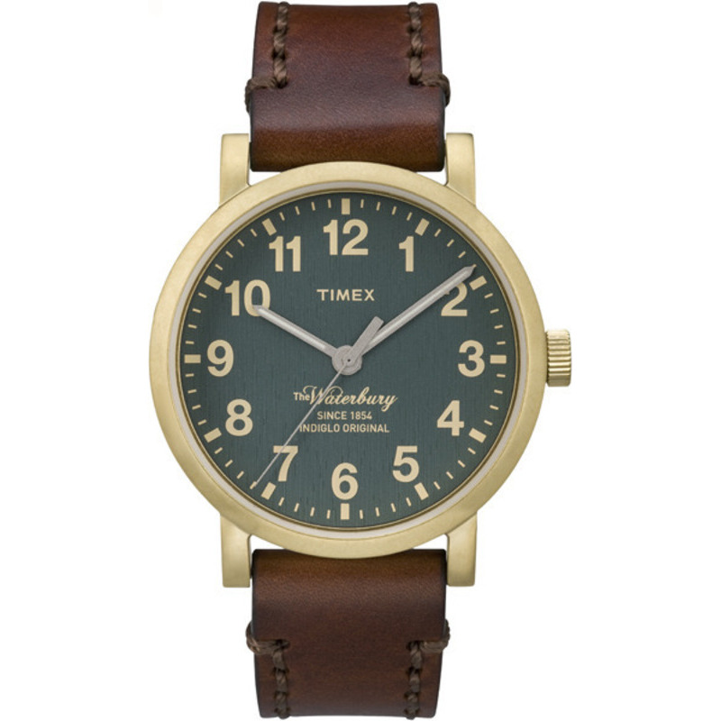 Timex Waterbury Brown Leather Strap Green Dial Casual Watch TW2P58900