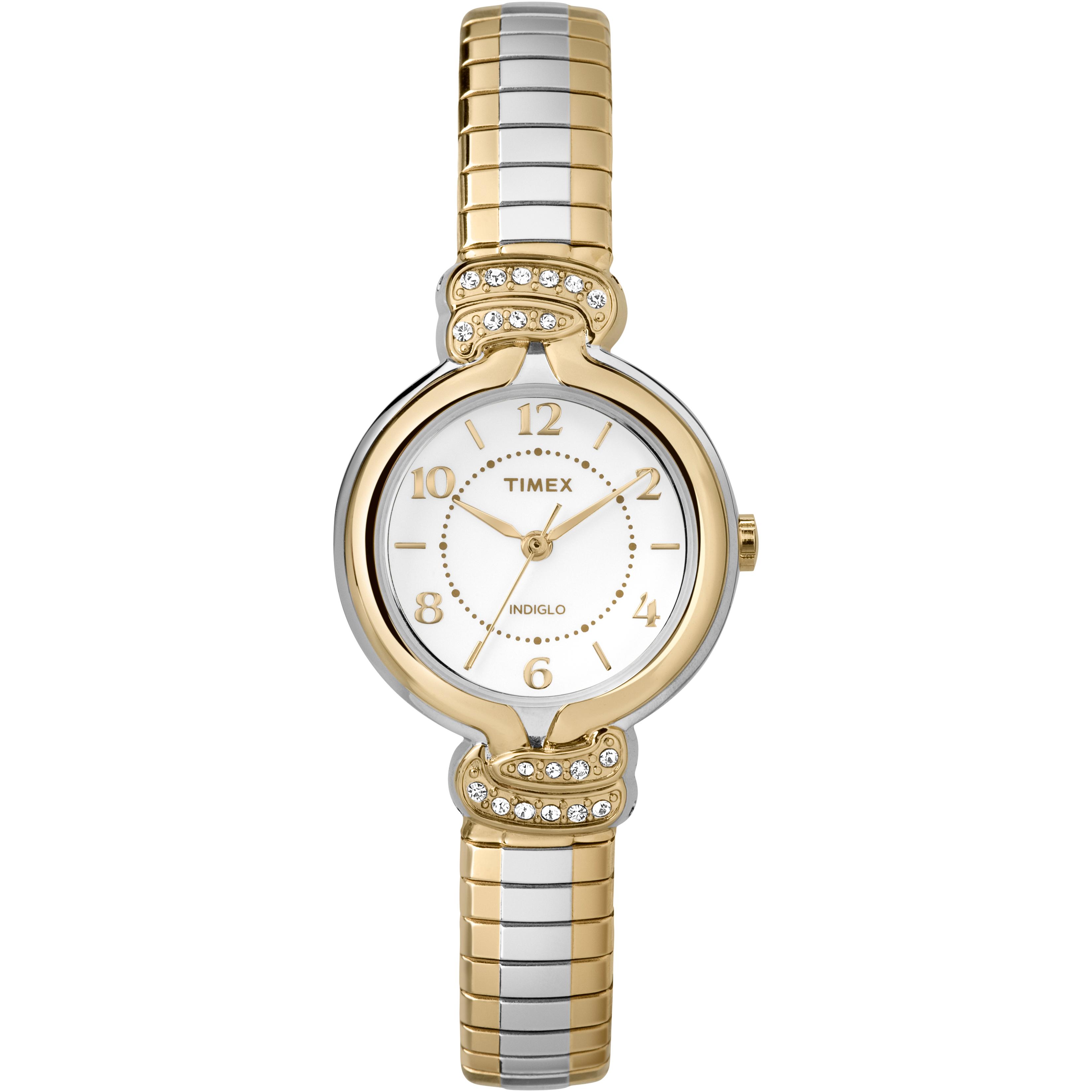 Timex women 39 s anna avenue silver tone dial swarovski crystals dress watch ebay for Swarovski crystals watch