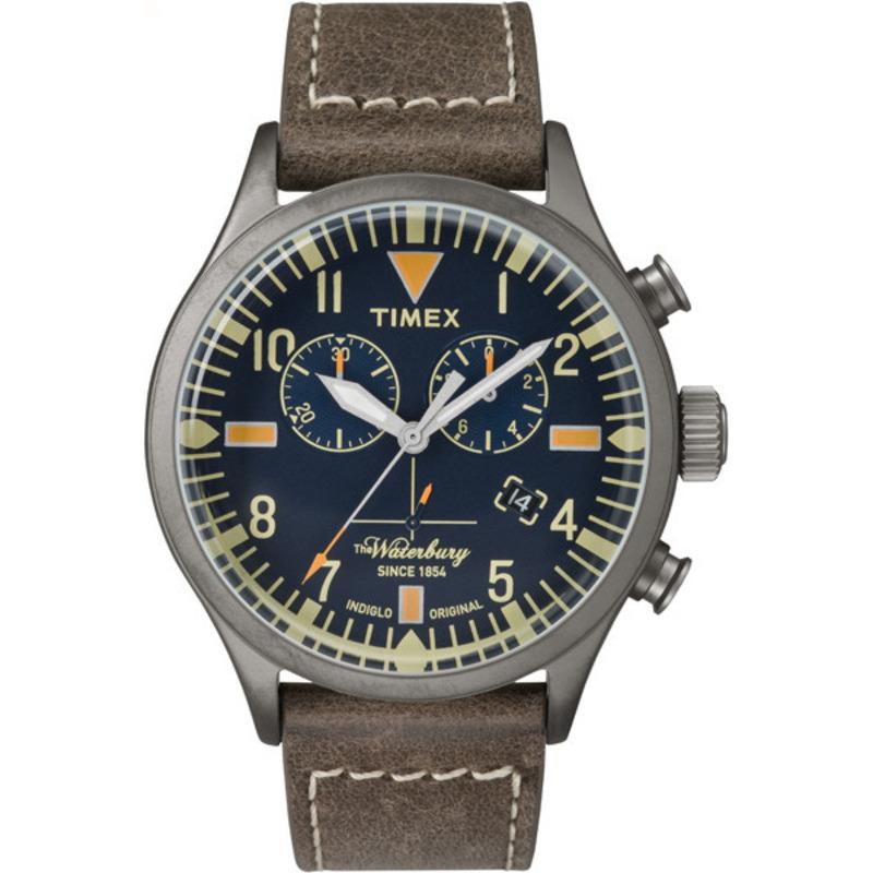 Timex Men's Waterbury Chronograph Distressed Strap Blue Dial Watch TW2P84100