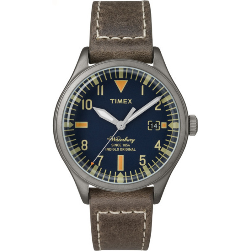 Timex Waterbury Leather Strap Blue Dial Orange Accents Casual Watch TW2P84400