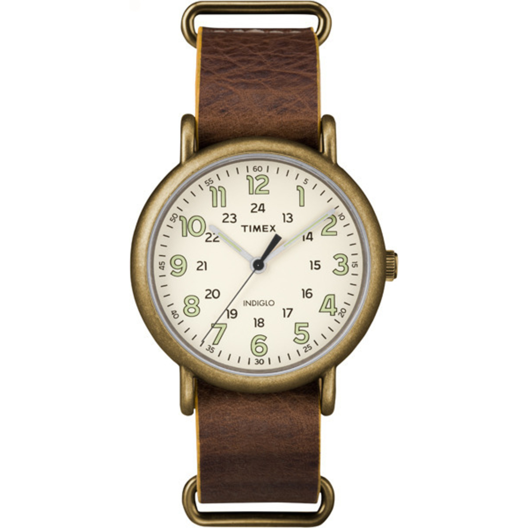 Timex Men's Weekender Oversized Genuine Leather Strap 24-Hou