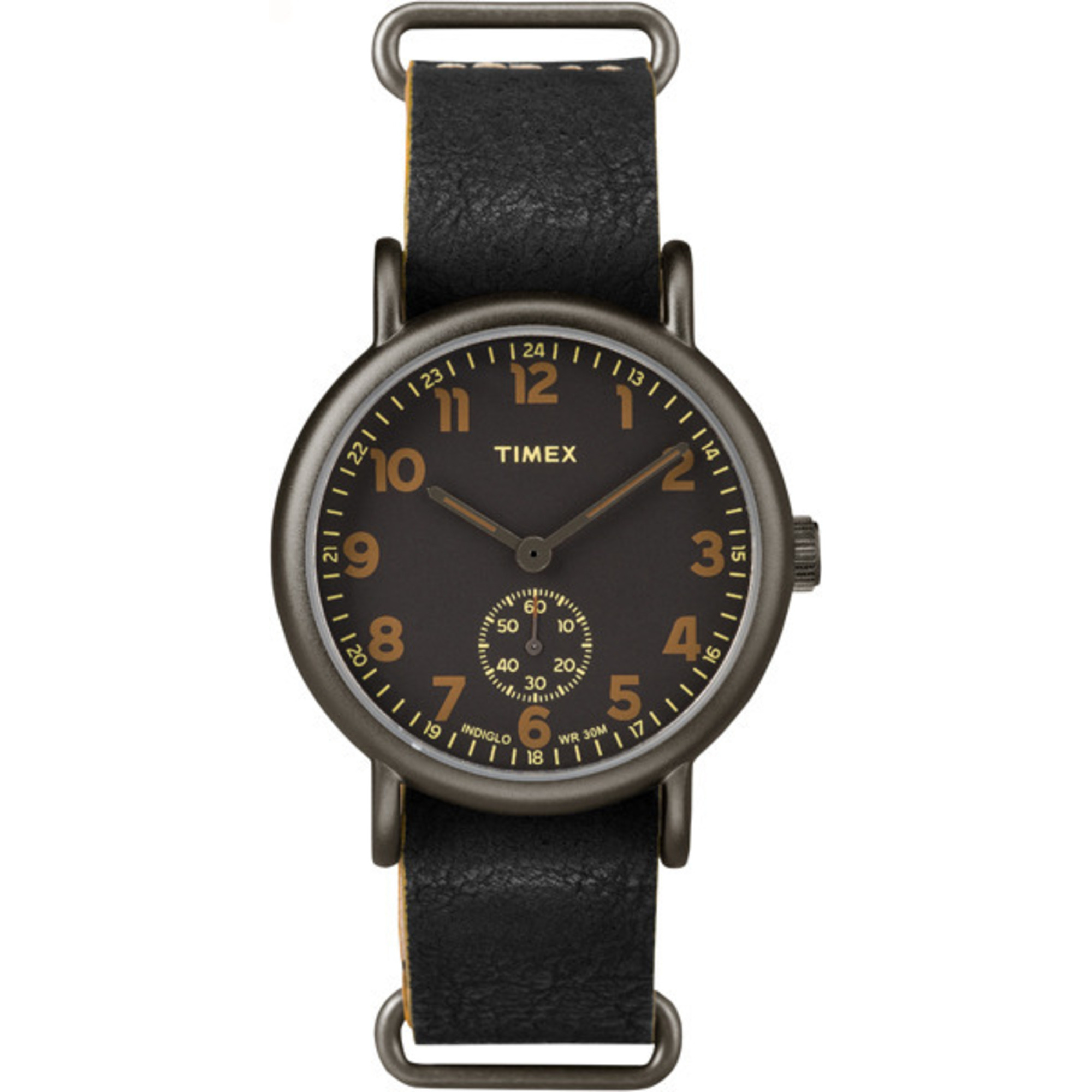 Oversized Black Multi-Dial & Leather Strap