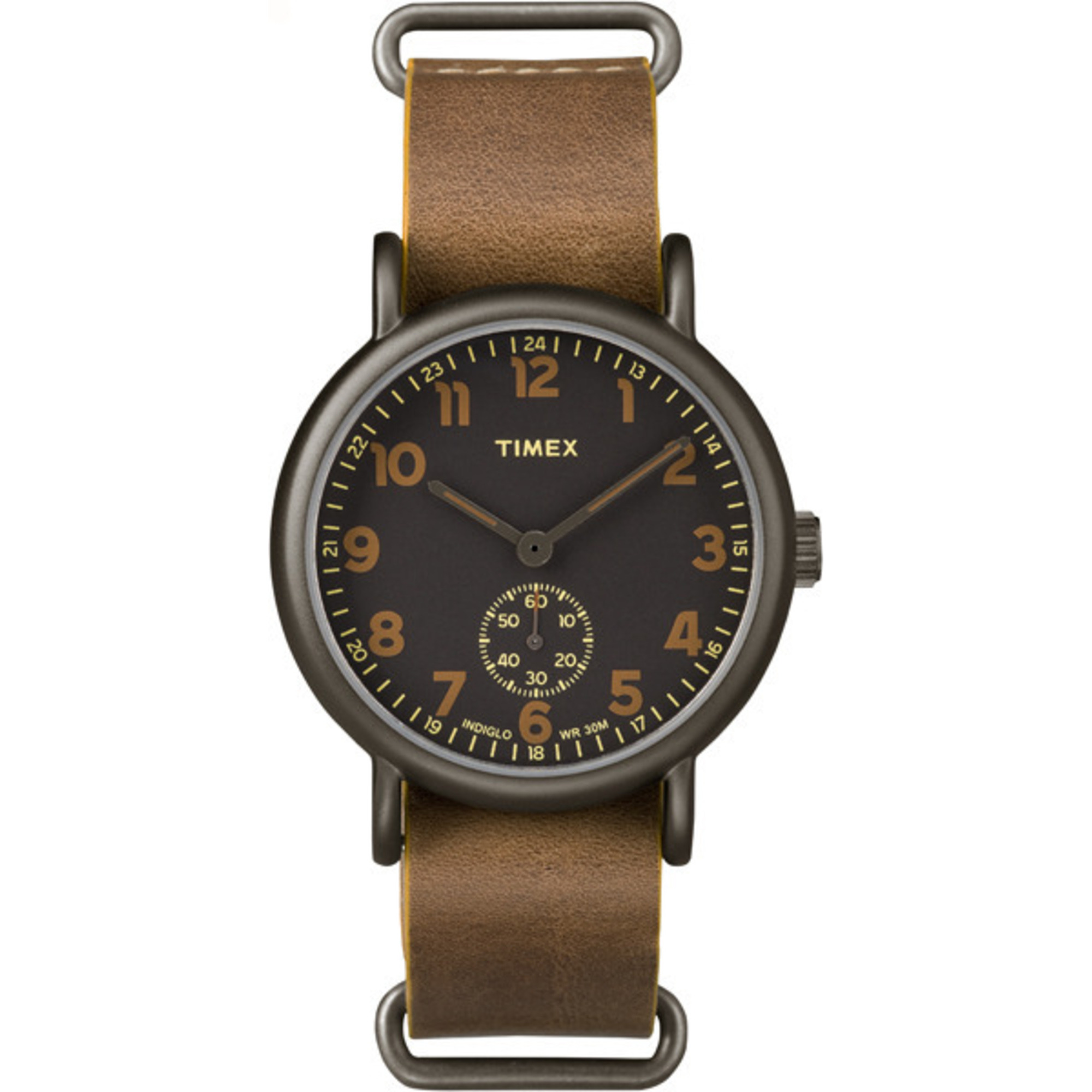 Oversized Black Multi-Dial & Tan Leather Strap
