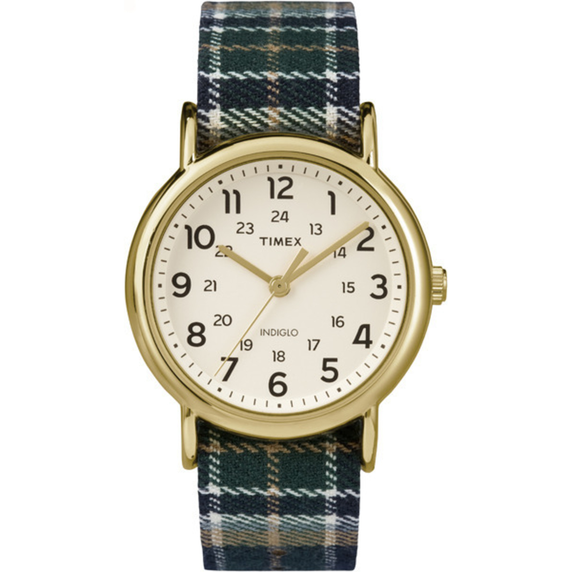 Timex Weekender Plaid Fabric Strap | Cream Dial 24-Hour Time | Casual Watch Timex