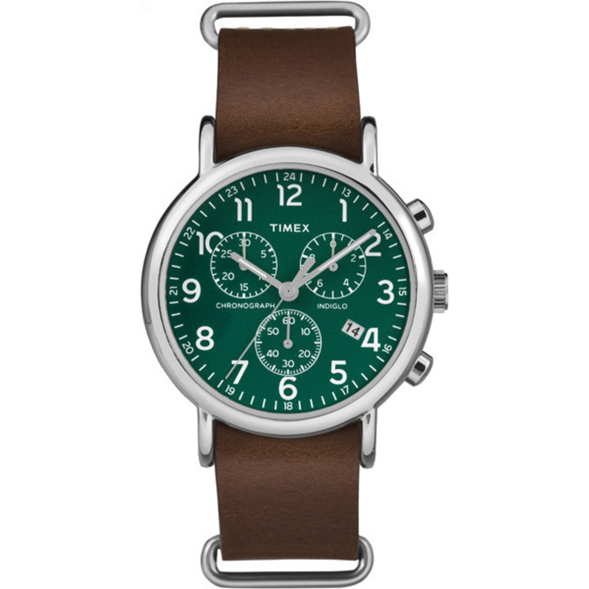 Chronograph Oversized Leather Strap Green Dial
