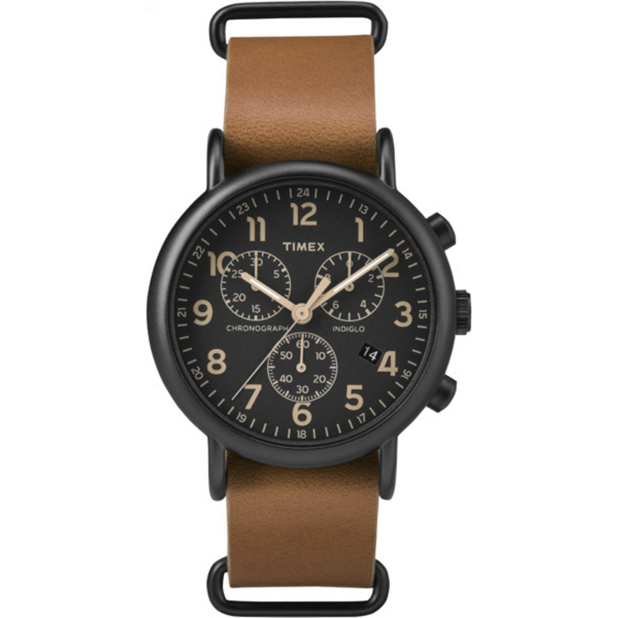 Chronograph Oversized Leather Strap Black Dial