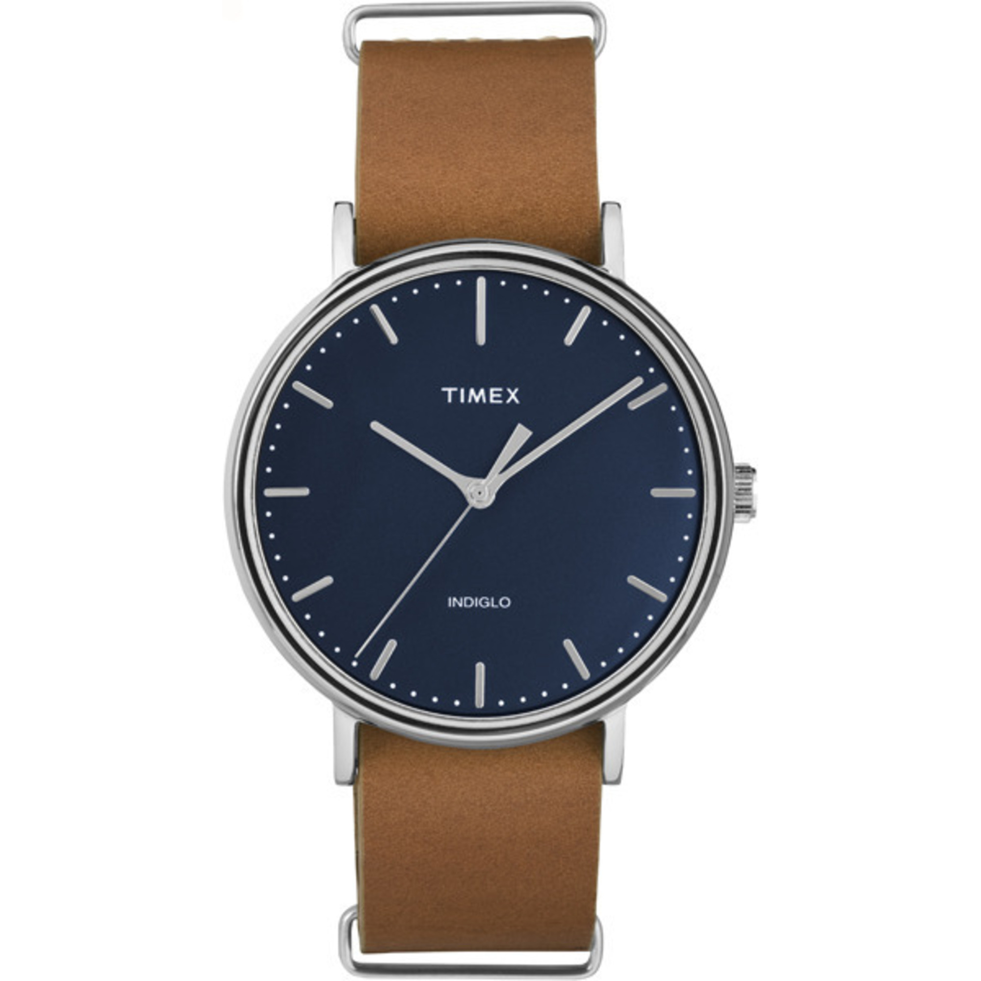 Leather Strap Minimal Blue Dial