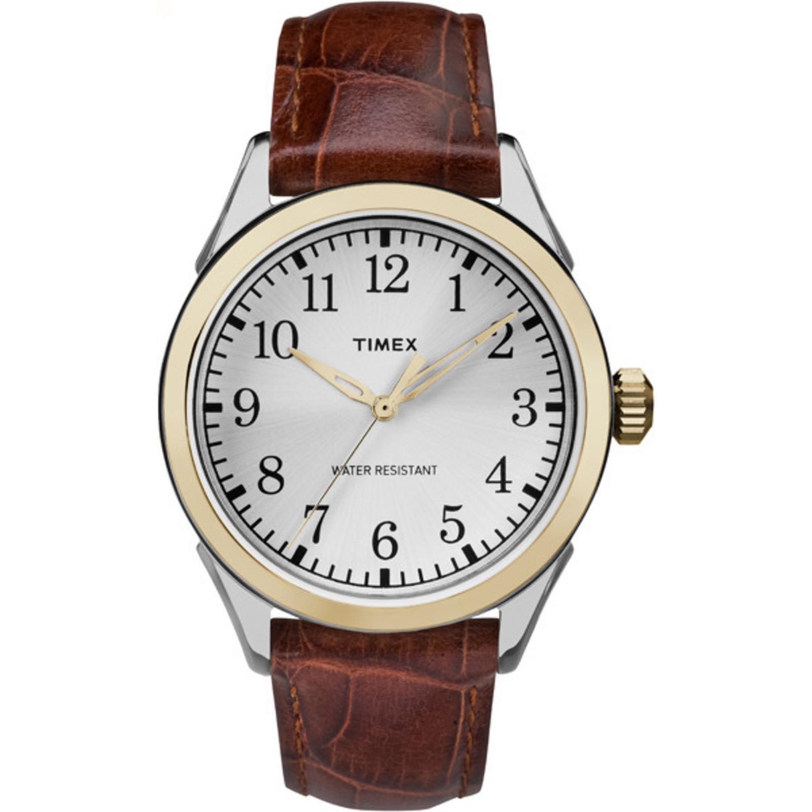Timex Men's Briarwood Terrace Leather Strap & Silver-Tone Di