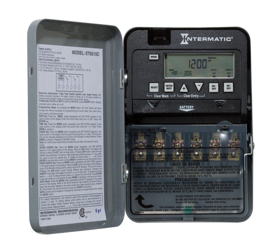 intermatic et1125c dtsp 24 hour electronic timer switch w battery. Black Bedroom Furniture Sets. Home Design Ideas