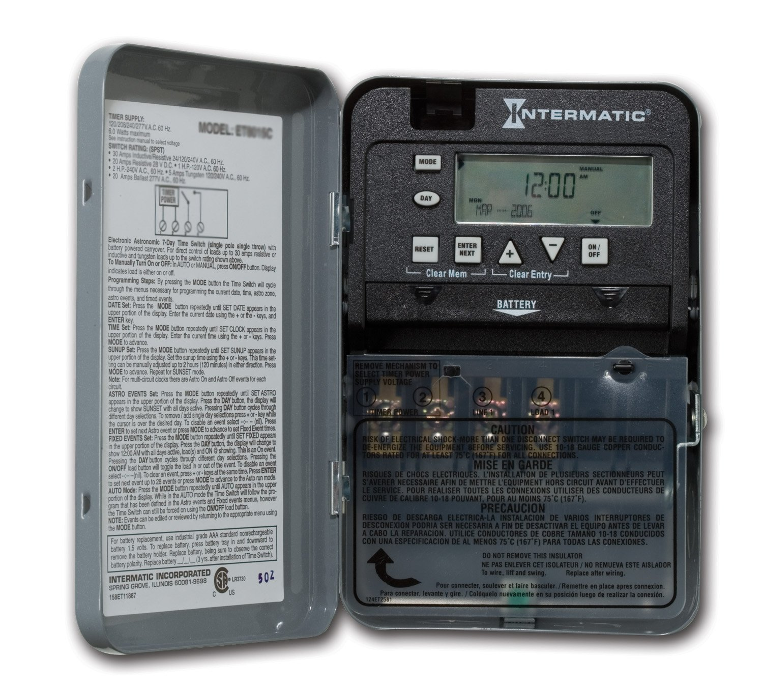 INTERMATIC - ET1705C SPST 7 Day Electronic Timer Switch w ...
