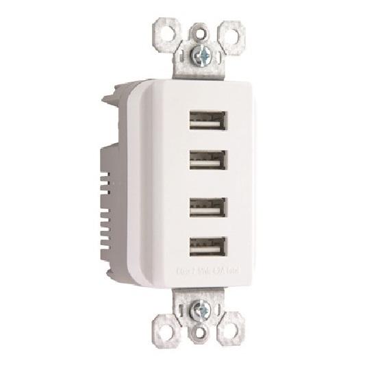Pass & Seymour Legrand Decorator Quad USB Charger, White - TM8USB4WCC6