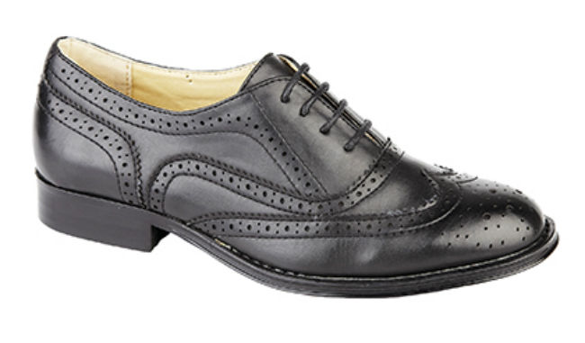 Womens Girls Brogue Shool/Office Shoes Black Or Brown. Non-Leather. Sizes 3-9
