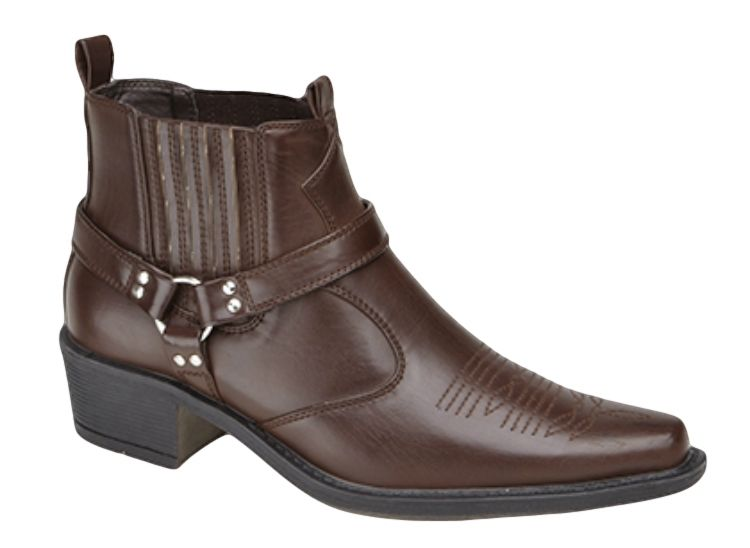 Mens-Western-Cowboy-Boots-Tall-Ankle-Or-Harness-Style-Black-Brown-Tan-6-12-UK