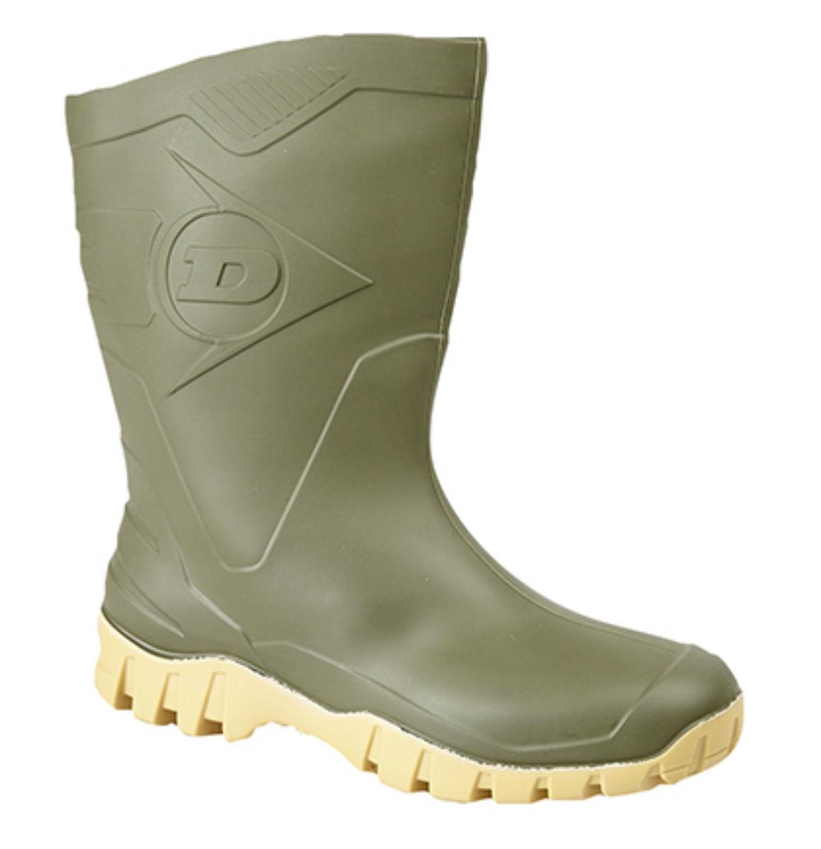 Mens/ladies Dunlop Dee widecalf wellies/wellingtons Negro O Verde Tallas 4 A 12