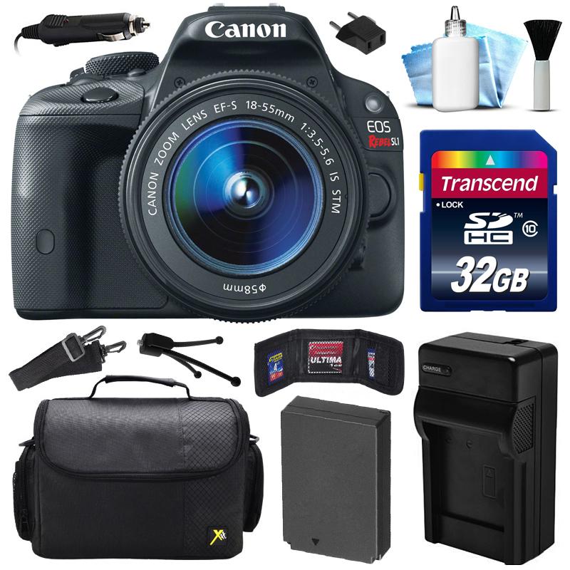 Canon EOS Rebel SL1 100D DSLR Digital Camera w/ 18-55mm Lens (32GB Value Bundle)