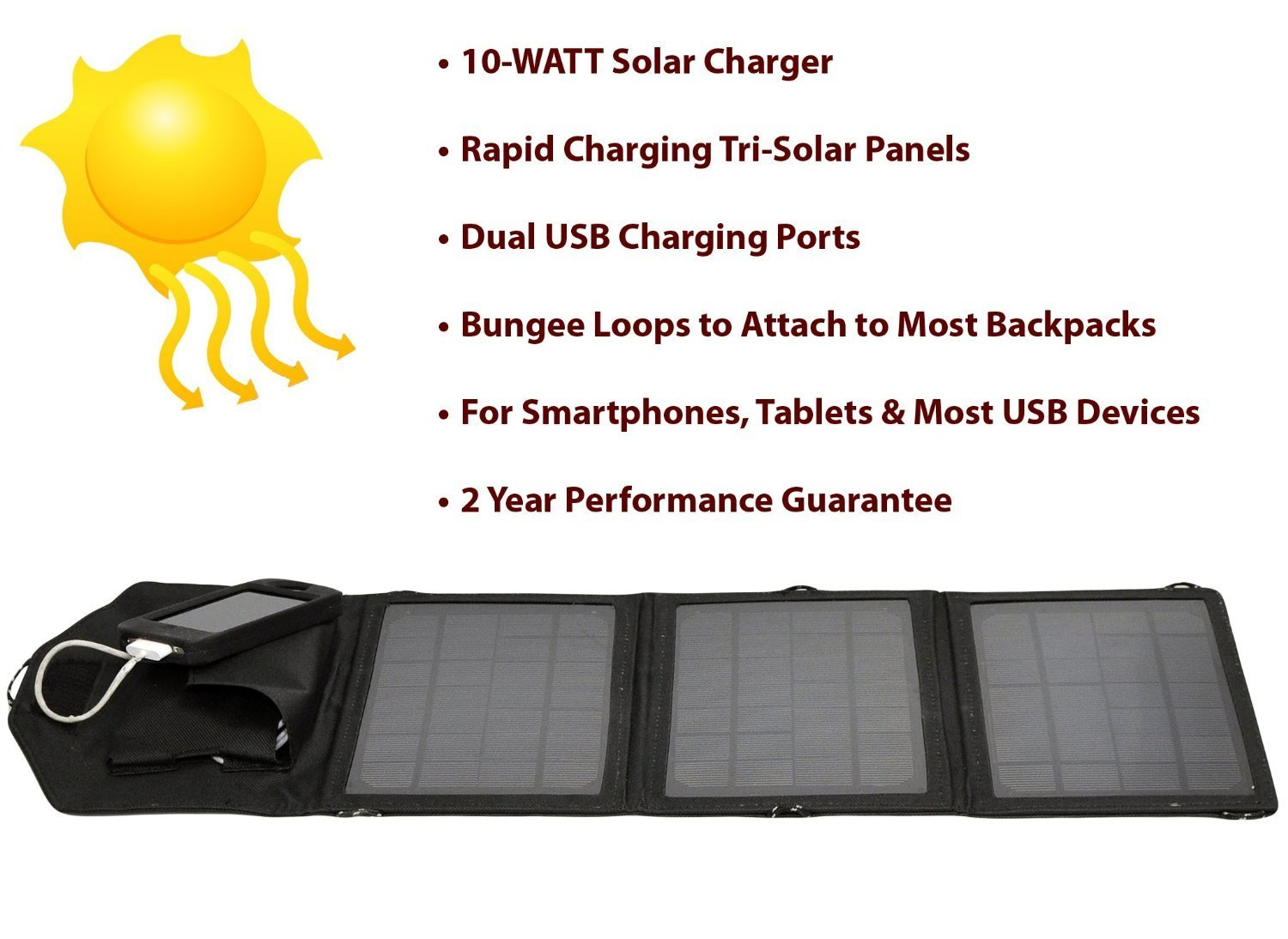 Opteka SP-10W Universal 10-WATT Triple-Panel Rapid Solar Charger with 2 USB Ports for Smartphones, Tablets & Other USB Powered D at Sears.com