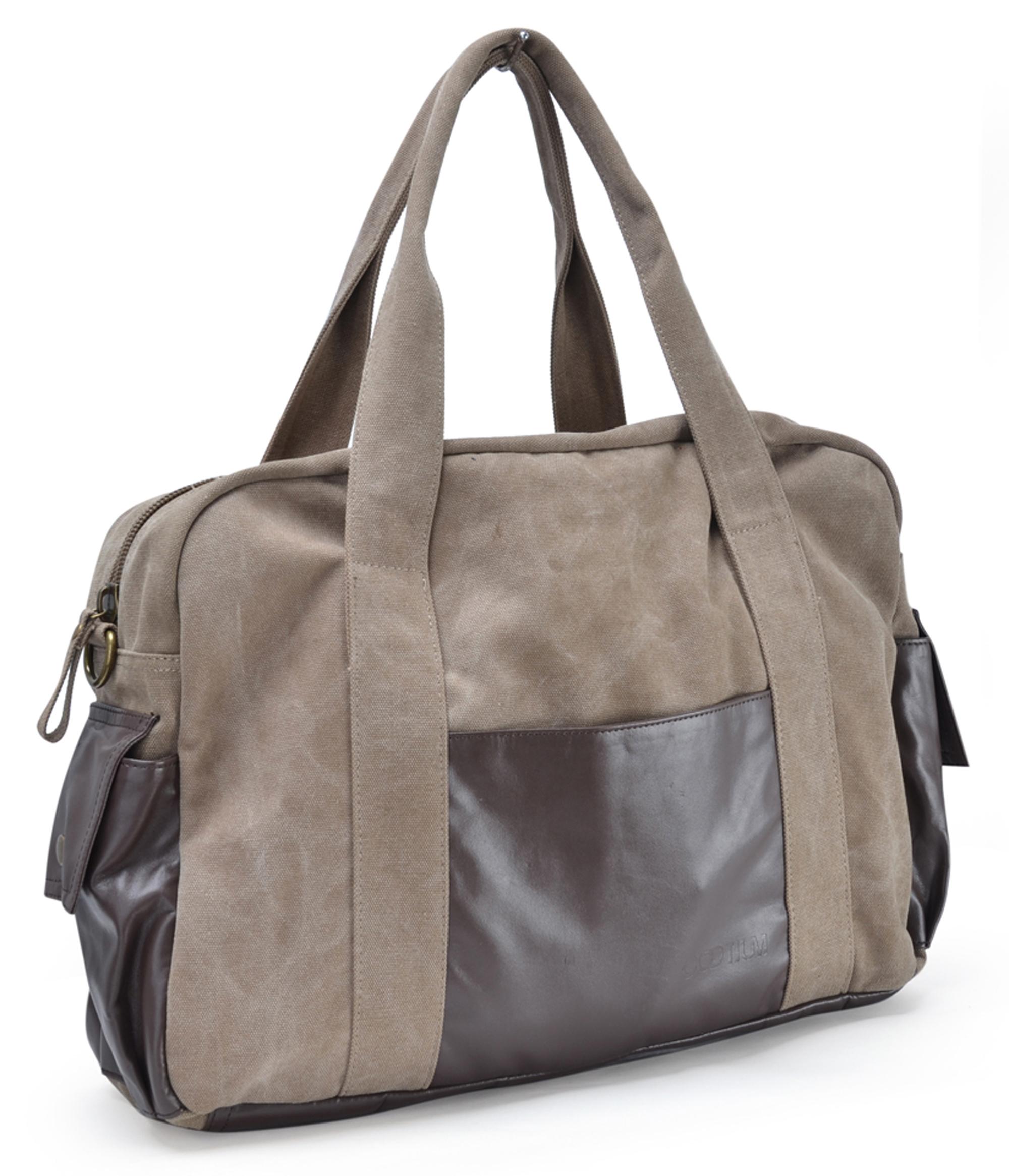 Gym Bag Briefcase: GOOTIUM Canvas Leather Travel Duffle Bags Sport Gym Bag