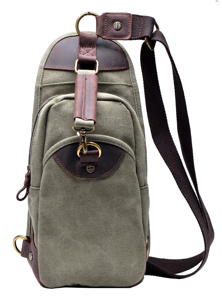 Gootium Mens Canvas Genuine Leather Cross Body Chest Pack Sling ...